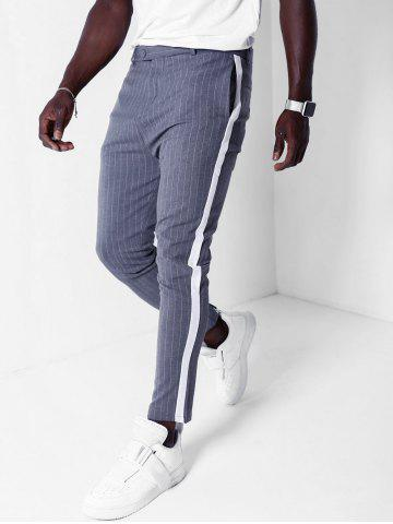 Striped Print Color Spliced Casual Pants