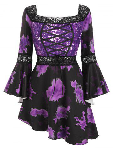 Lace Paneled Flare Sleeve Printed Skirted Plus Size Top