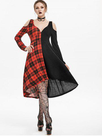 Plunging Neck O Ring Cut Out Plaid Gothic Dress