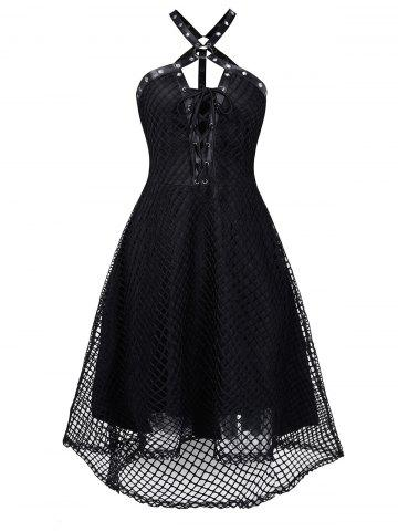 Harness Insert Lace-up High Low Fishnet Gothic Dress
