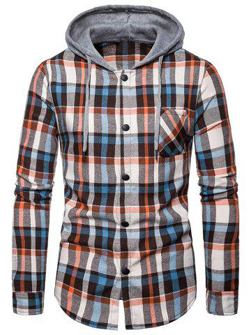 Checked Print Pockets Button Up Hooded Shirt