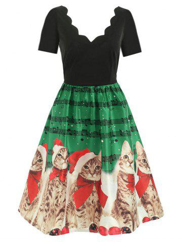 Scalloped Musical Notes Cat V Neck Christmas Dress