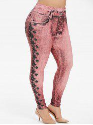 Pull On Floral Printed Plus Size Jeggings -