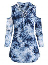 Cold Shoulder Lace-up Tie Dye Print Hooded T-shirt -