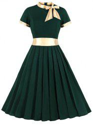 Knotted Contrast Trim Stand Neck Pleated Dress -