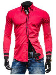 Color Spliced Button Up Long Sleeves Shirt -