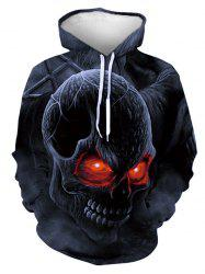 Halloween Scary Skull Graphic Front Pocket Hoodie -