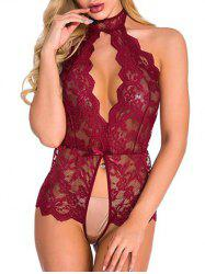 Scalloped Floral Lace Backless Teddy -