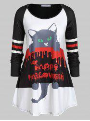 Plus Size Long Sleeve Cat Print Round Collar T Shirt -