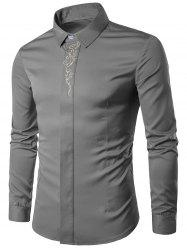 Baroque Embroidery Accent Button Up Long Sleeve Shirt -