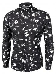 Skull Skeleton Print Halloween Shirt -