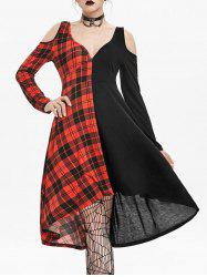 Plunging Neck O Ring Cut Out Plaid Gothic Dress -