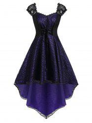 Plus Size Lace Up High Low Halloween Gothic Lace Party Dress -