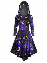 Plus Size Hooded 3D Galaxy Print Halloween Dress -