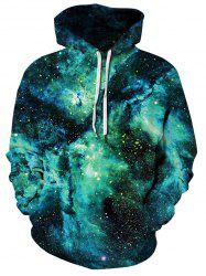 Plus Size Allover Starry Galaxy Print Kangaroo Pocket Hoodie -