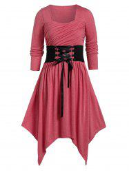 Plus Size Asymmetrical Sweetheart Collar Lace Up Dress -