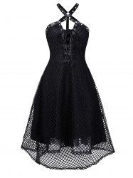 Harness Insert Lace-up High Low Fishnet Gothic Dress -
