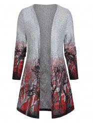 Open Front Tree Print Tunic Cardigan -
