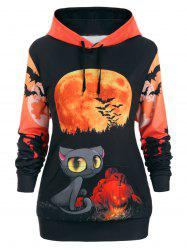 Plus Size Drawstring 3D Print Gothic Halloween Pullover Hoodie -