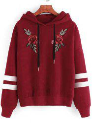 Plus Size Drawstring Embroidery Pullover Hoodie -