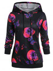 Plus Size Halloween Skull Butterfly Graphic Ribbed Hem Hoodie -