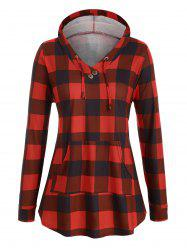 Drawstring Plaid Front Pocket Mock Button Plus Size Hoodie -