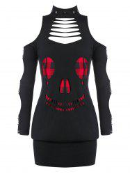 Plus Size Ripped Plaid Skull Halloween Gothic Blouson T Shirt -