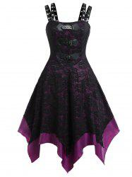 Plus Size PU Buckle Grommet Halloween Gothic Lace Party Dress -