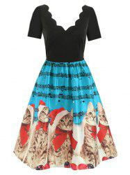 Scalloped Musical Notes Cat V Neck Christmas Dress -