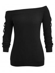 Plus Size Lattice Off The Shoulder Sweatshirt -