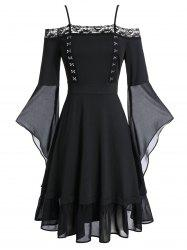 Plus Size Hook and Eye Flare Sleeve Gothic Halloween Dress -