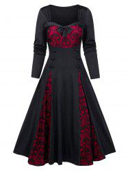 Halloween Skull Lace Insert Long Sleeve Mock Button Dress -