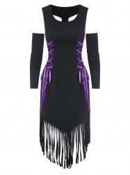 D-ring Fringed Lace Up Bodycon Gothic Dress -