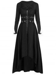 Plus Size Buckle Zippered High Low Gothic Halloween Maxi Dress -