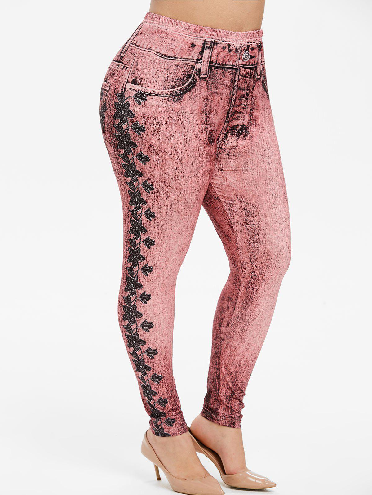 Fancy Pull On Floral Printed Plus Size Jeggings