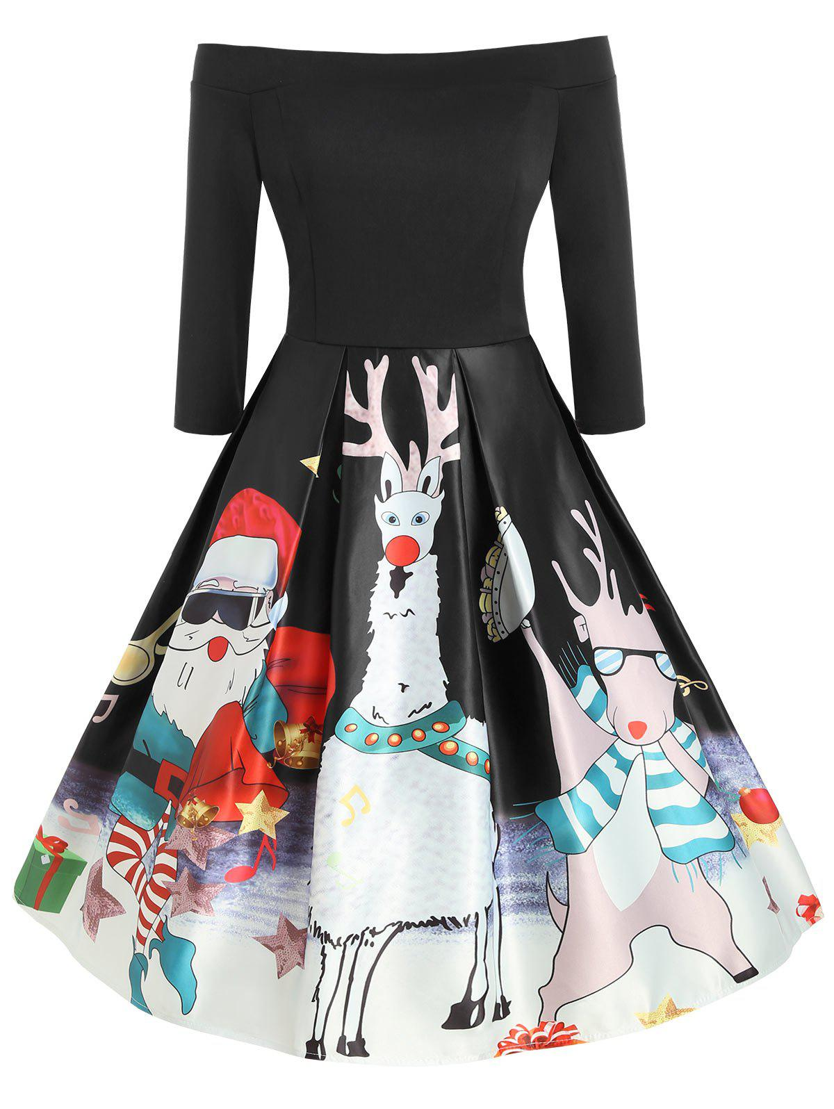 Buy Plus Size Vintage Off  Shoulder Printed Christmas Swing Dress