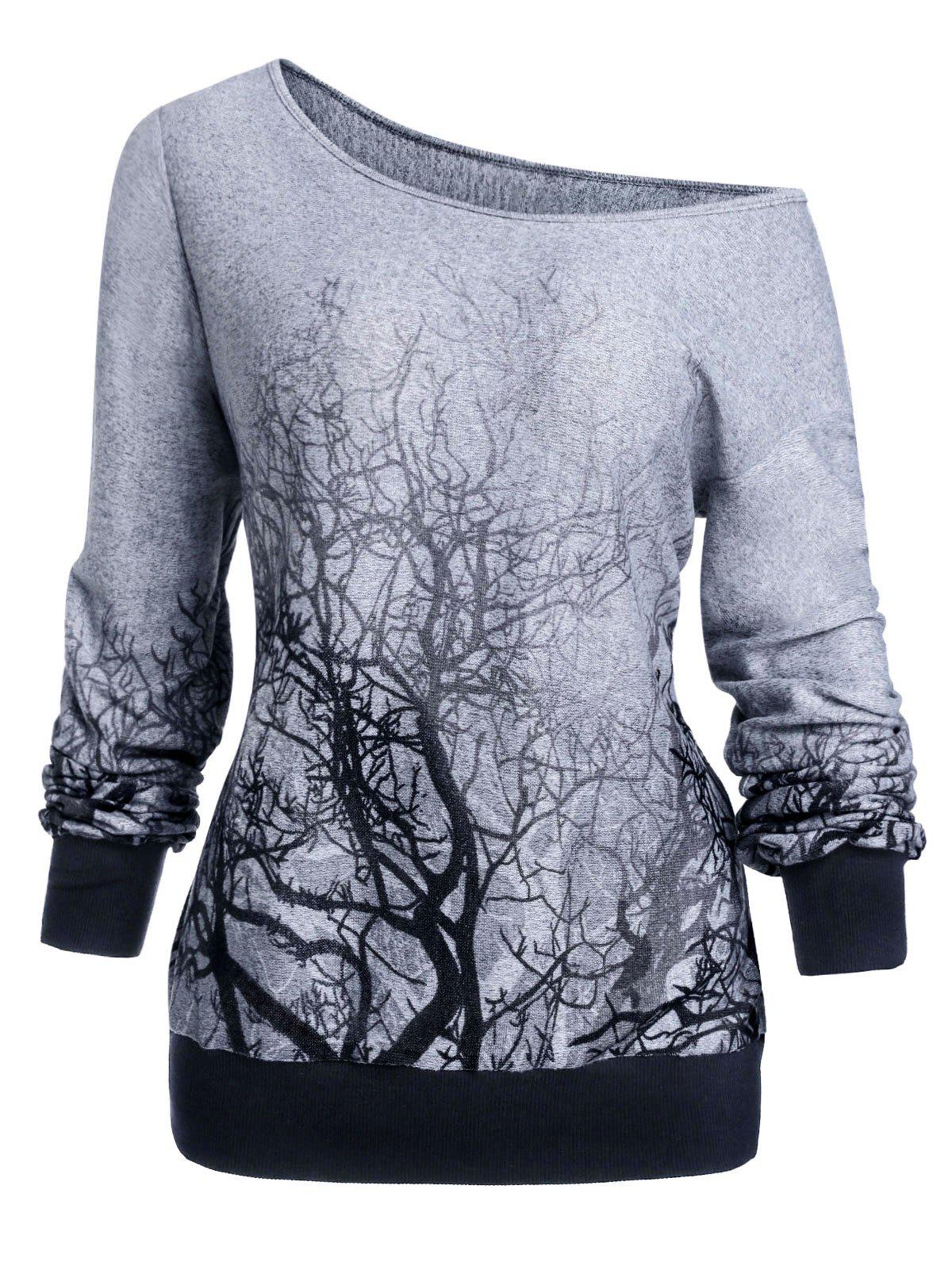 Cheap 3D Tree Print Skew Neck Gothic Halloween Sweatshirt