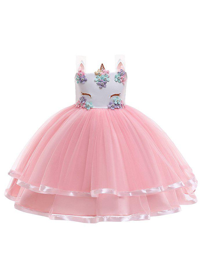 Store Unicorn Flower Pattern Sleeveless A Line Tulle Dress