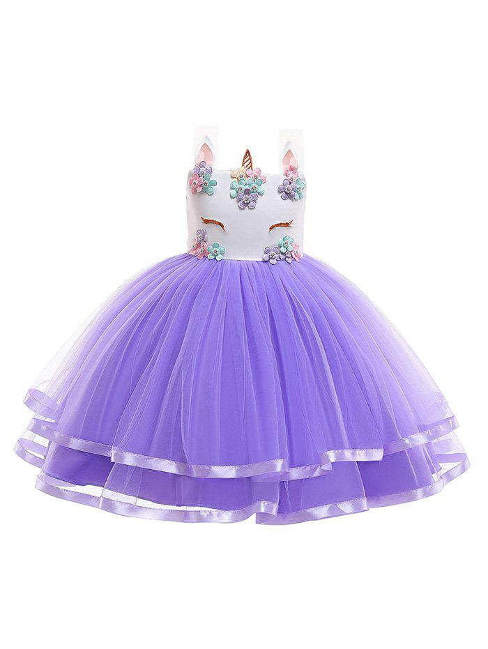 Outfits Unicorn Flower Pattern Sleeveless A Line Tulle Dress