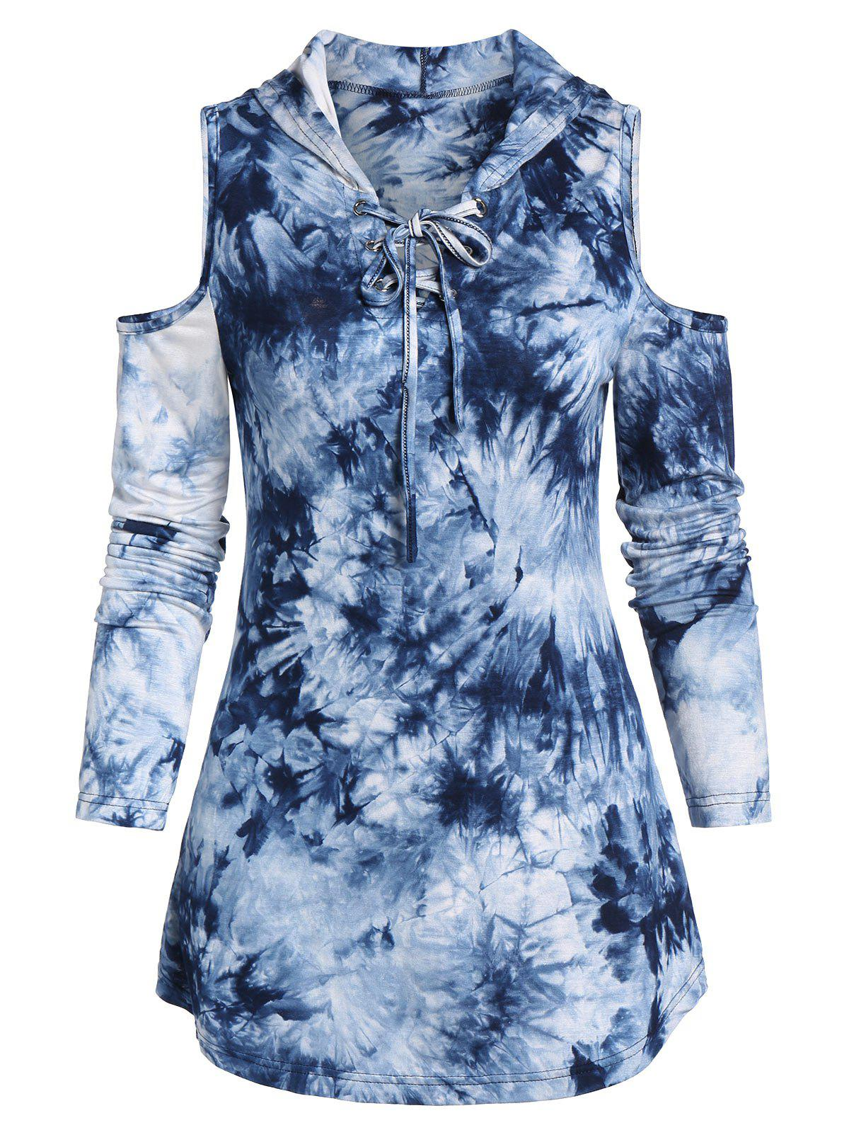 Trendy Cold Shoulder Lace-up Tie Dye Print Hooded T-shirt