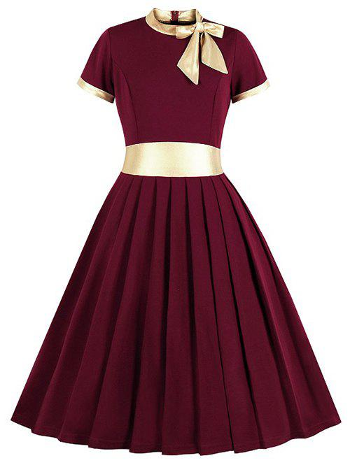 Cheap Knotted Contrast Trim Stand Neck Pleated Dress