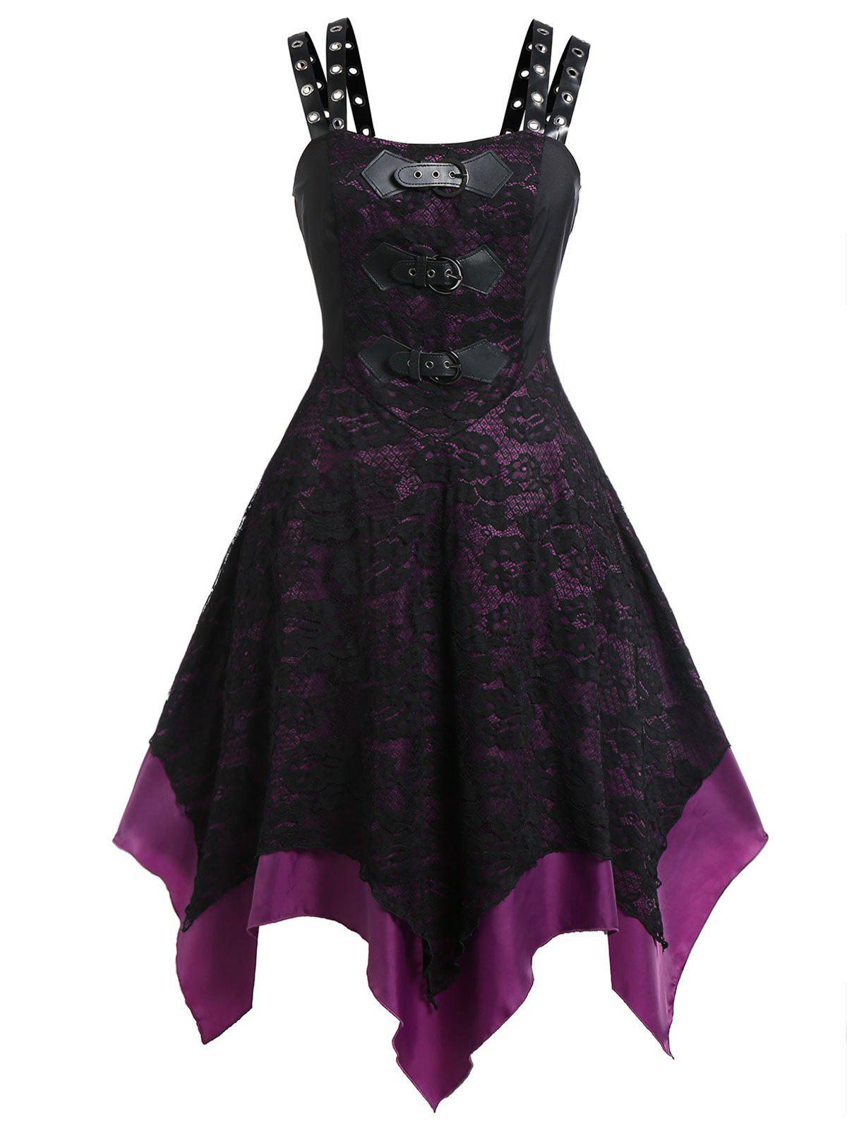 Cheap Plus Size PU Buckle Grommet Halloween Gothic Lace Party Dress