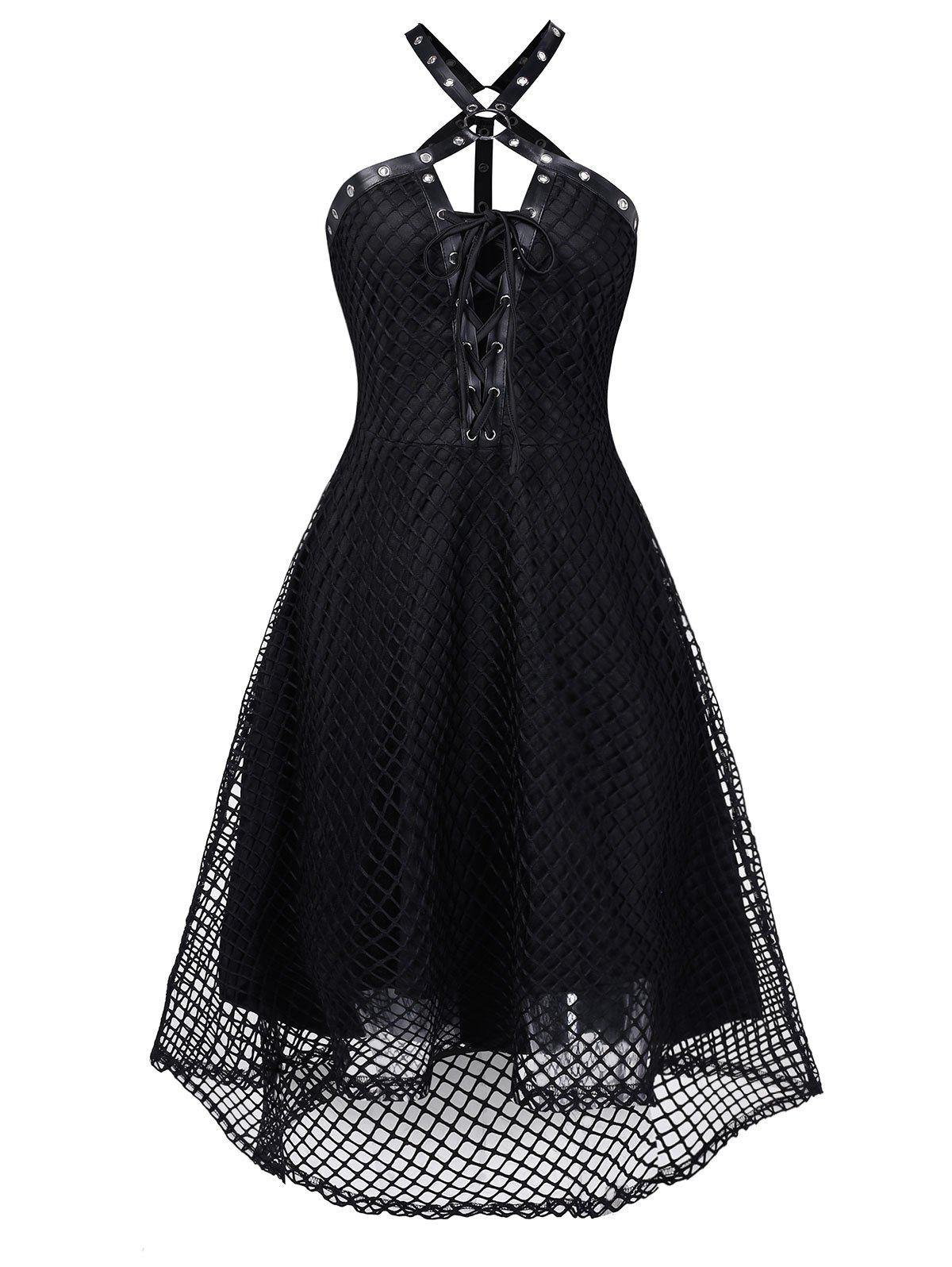 Unique Harness Insert Lace-up High Low Fishnet Gothic Dress