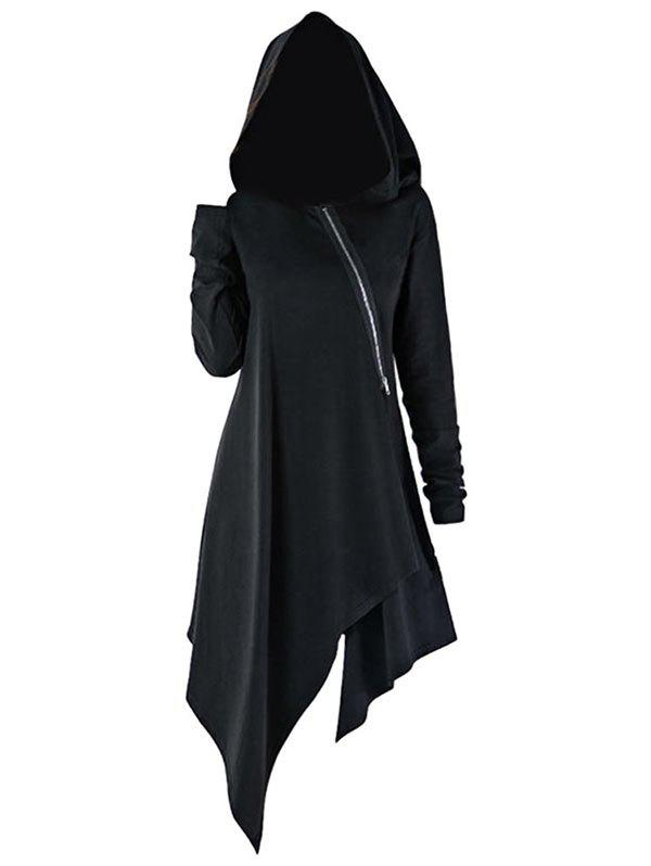 Outfits Zip Front Asymmetrical Longline Hoodie