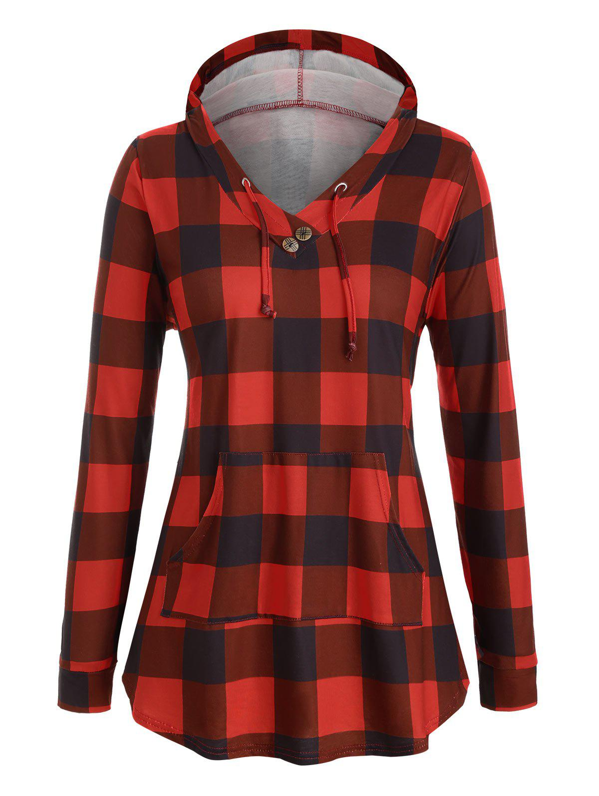Online Drawstring Plaid Front Pocket Mock Button Plus Size Hoodie