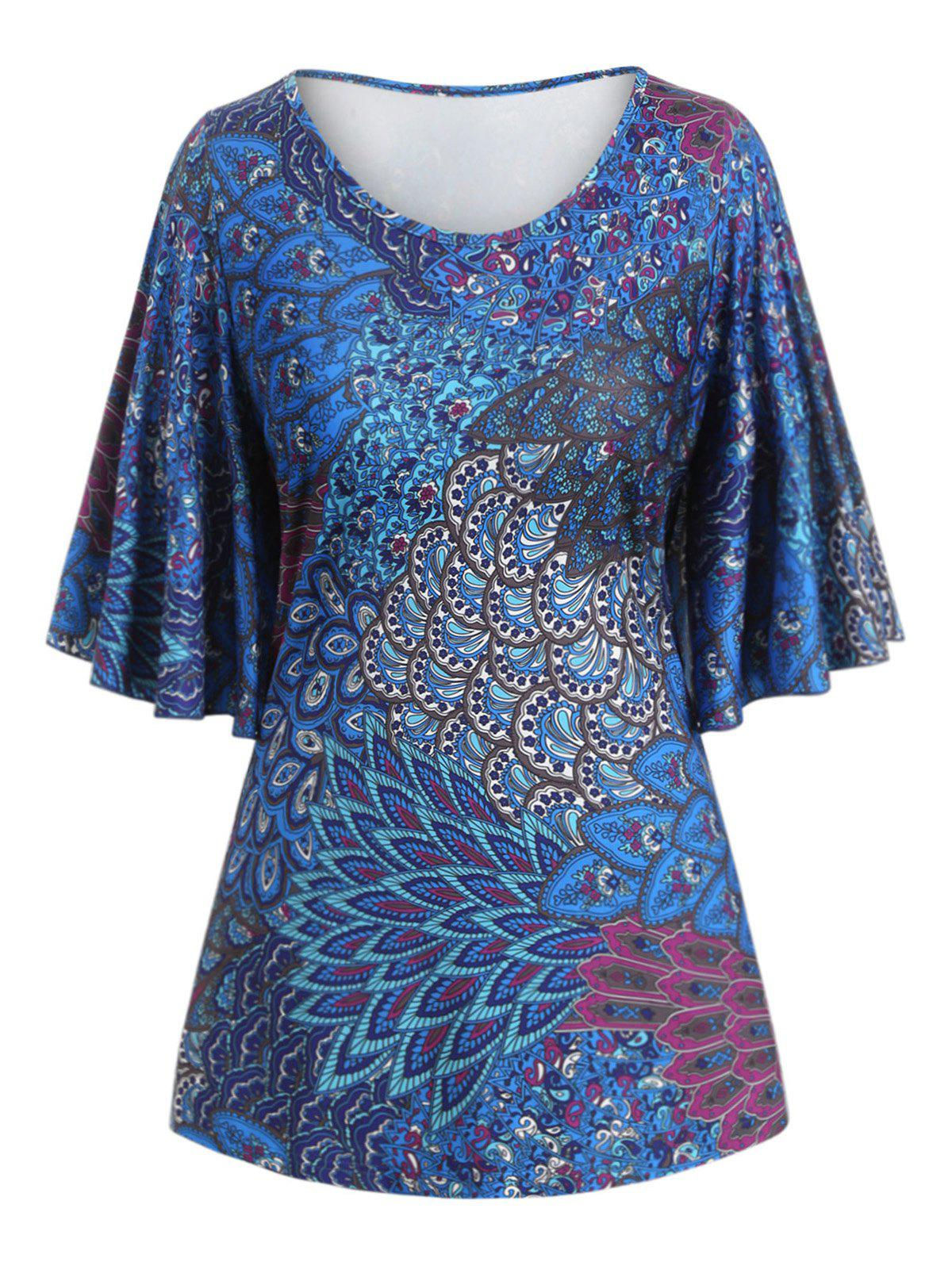 Online Plus Size Butterfly Sleeve Tribal Print Tee
