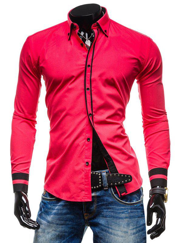 Cheap Color Spliced Button Up Long Sleeves Shirt