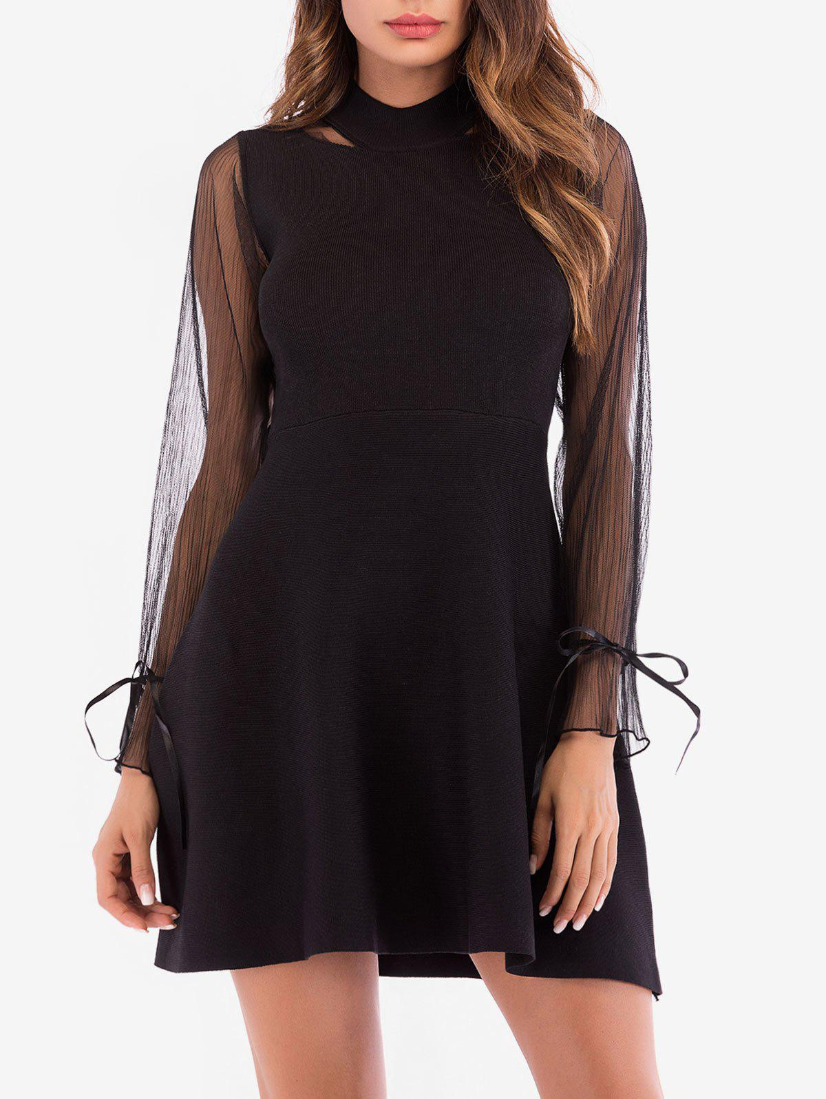 Outfit Mock Neck See Thru Sleeves Knitted Dress