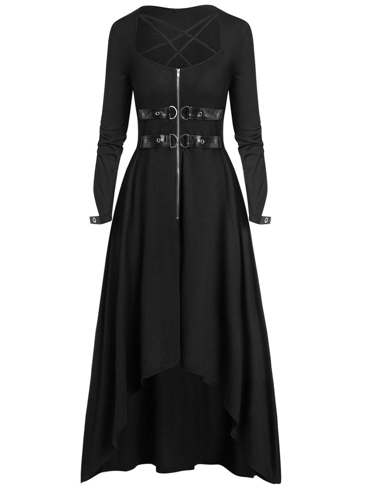 Sale Plus Size Buckle Zippered High Low Gothic Halloween Maxi Dress