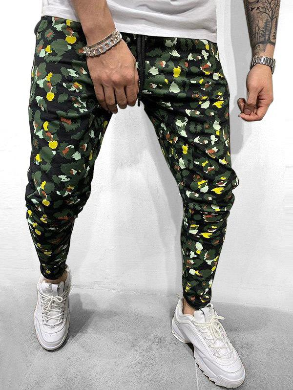 Online Colorful Leopard Print Casual Drawstring Pants
